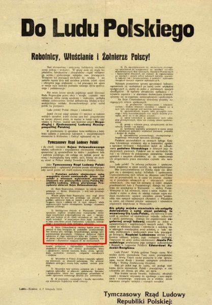 Pełna odezwa rządu lubelskiego z zaznaczonym punktem 4, traktującym o równych prawach wyborczych dla kobiet