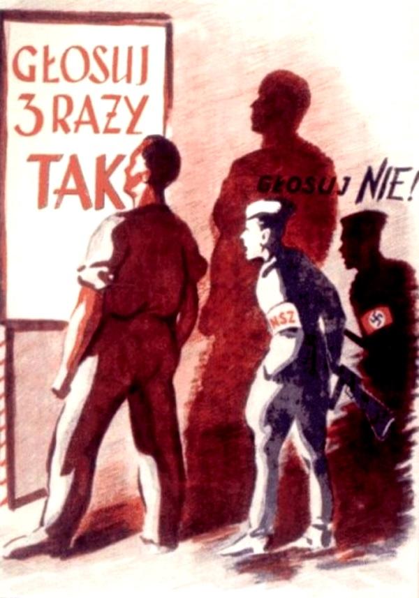 Plakat z okresu PRL - Referendum 3 x TAK z roku 1946 (fot. domena publiczna)