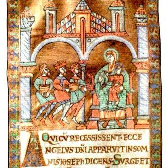 Pokłon trzech króli ze Złotego kodeksu pułtuskiego (fot. domena publiczna)