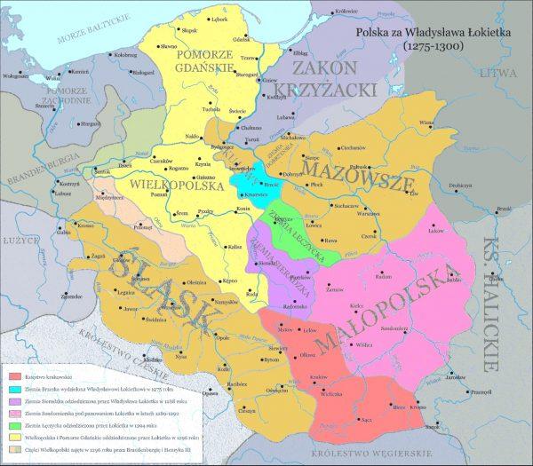Polska za Władysława Łokietka (fot. Ulamm, lic. CC BY-SA 3.0)