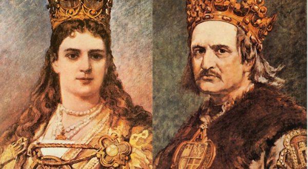 Protoplaści dynastii Jagiellonów - Jadwiga i Jagiełło (fot. domena publiczna)