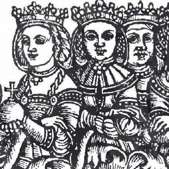 Anna Cyllejska (pośrodku) na rycinie Ludovicusa Deciusa.