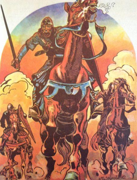Rycerze, z którymi wyruszył Bolesław Krzywousty byli tak zaskoczeni bogactwem łupów, jakie zdobyli w podgrodziu Kołobrzegu, że stracili chęć do atakowania samego miasta. Na ilustracji rysunek Marka Szyszki, za zgodą autora.