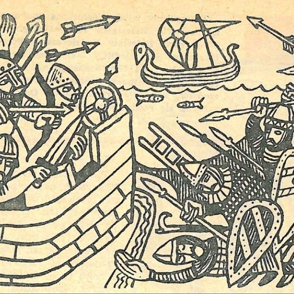 """Polskie starania o Pomorze zakończyły się sucesem w 1107 roku. Bolesław Krzywousty podporządkował sobie zaciekle broniącą się dzielnicę. Ilustracja i podpis z książki """"Polskie triumfy""""."""