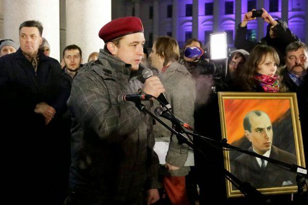 Na Ukrainie Bandera jest uznawany za bohatera (na zdj. obchody 106 rocznicy jego urodzin).