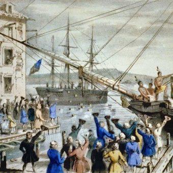 Część kolonistów przebrała się za rdzennych Amerykanów.