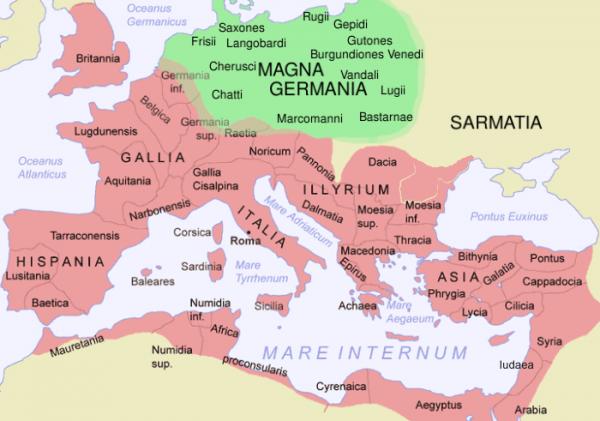 Obszary występowania plemion germańskich na przełomie er.