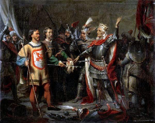Król Władysław Jagiełło wysoko cenił Zawiszę. Na obrazie władca przed bitwą pod Grunwaldem.
