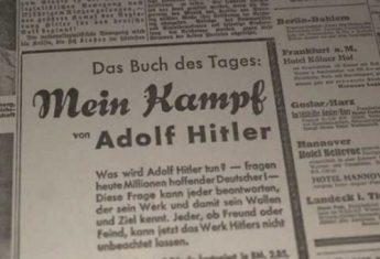 """31 stycznia 1933 roku """"Völkischer Beobachter"""" uznał dzieło Hitlera za książkę dnia."""