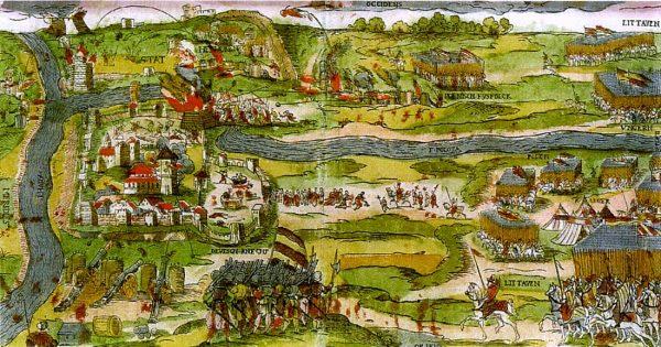 XVI-wieczne przedstawienie oblężenia Połocka przez wojska Batorego.