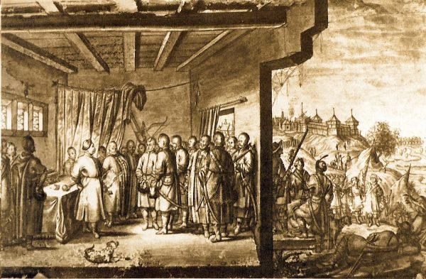 Przyjęcie posłów Bohdana Chmielnickiego przez hetmana Janusza Radziwiłła w 1651 roku, rysunek z natury świadka tych wydarzeń Abrahama van Westervelda (fot. domena publiczna)