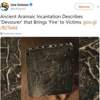 Screen tweeta z informacją o odkryciu, jaki zamieściło livescience.com