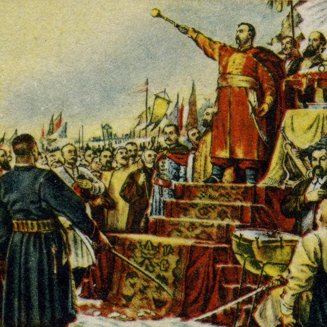 Na mocy ugody Kozacy poddawali się władzy cara. Ilustracja z okolicznościowego radzieckiego znaczka.