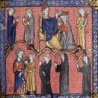 Ceremonia koronacji Pepina Krótkiego na średniowiecznej miniaturze.
