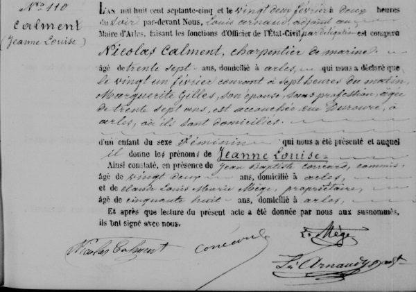 Akt urodzenia Jeanne (fot. domena publiczna)