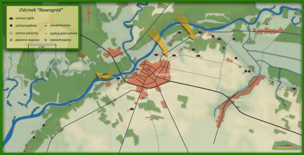 Plan bitwy o Nowogród z września 1939 roku.