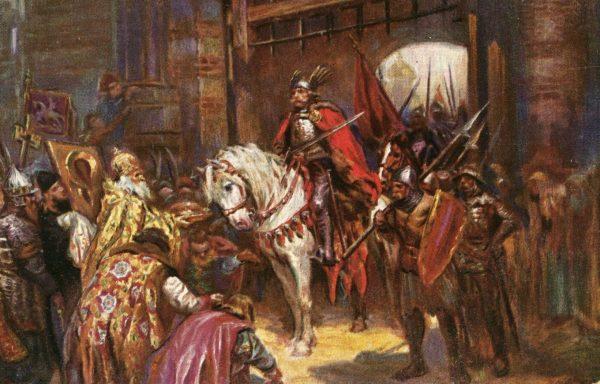 Triumfalny wjazd Chrobrego do Kijowa na obrazie Konstantego Górskiego.