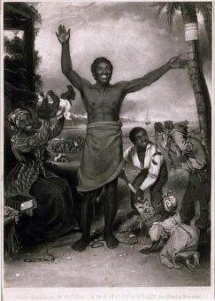 Niewolnictwo w Imperium Brytyjskim zniesiono w 1834 roku. Świętowano to m.in. za pomocą tabliczek takich jak ta.