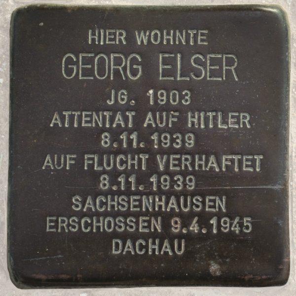 Stoplerstein poświęcony Georgowi Elserowi.