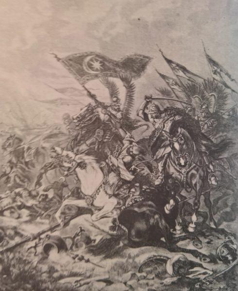 Walka o turecki sztandar pod Wiedniem na rysunku Juliusza Kossaka.