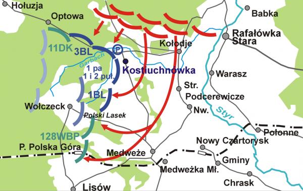 Rozmieszczenie polskich sił oraz kierunek ataku Rosjan pod Kostiuchnówką w lipcu 1916 roku.