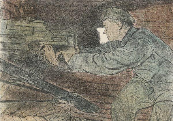 """Rosyjski kawaleria została dosłownie zmasakrowana przez ostrzał artylerii i karabinów maszynowych. Na ilustracji rysunek Leopolda Gottlieba """"Ostatni strzał""""."""