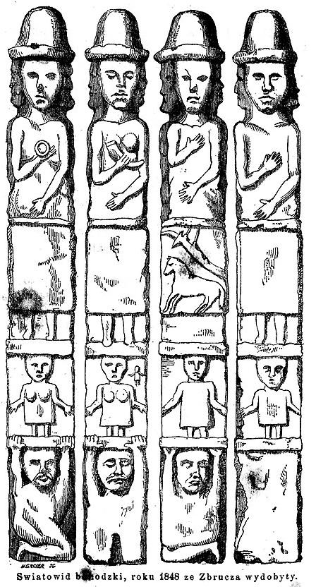Poszczególne strony Światowida ze Zbrucza według rysunku z XIX wieku.