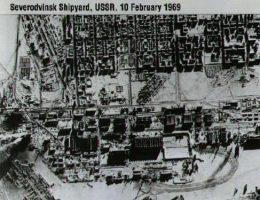 Port w Siewierodwińsku sfotografowany w 1969 roku przez amerykańskiego satelitę szpiegowskiego w ramach programu Corona.