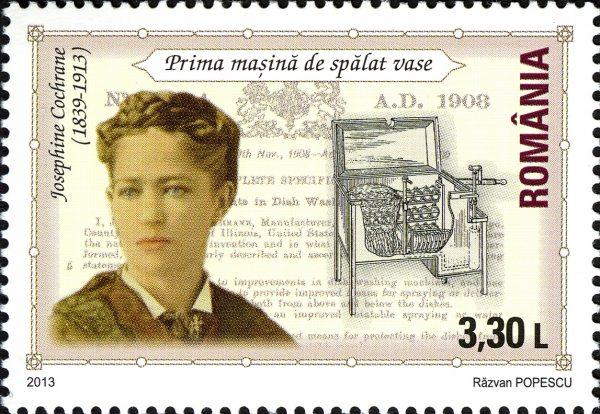 Josephine Cochrane ułatwiła życie milionom ludzi na całym świecie - stworzyła pierwszą mechaniczną zmywarkę! Wizerunek na znaczku pocztowym Rumunii.