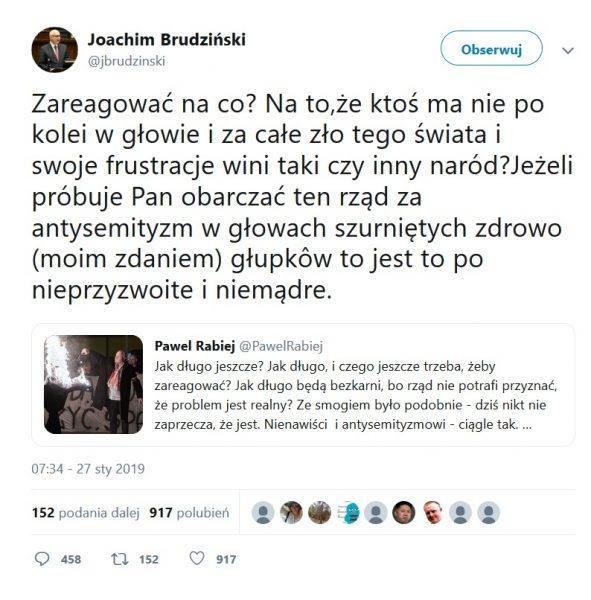 Tweet Joachmia Brudzińskiego w sprawie marszu nacjonalistów.