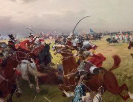 """W jakich bitwach husaria odniosła najbardziej spektakularne zwycięstwa? Na ilustracji fragment obrazu """"Walka o sztandar turecki""""."""