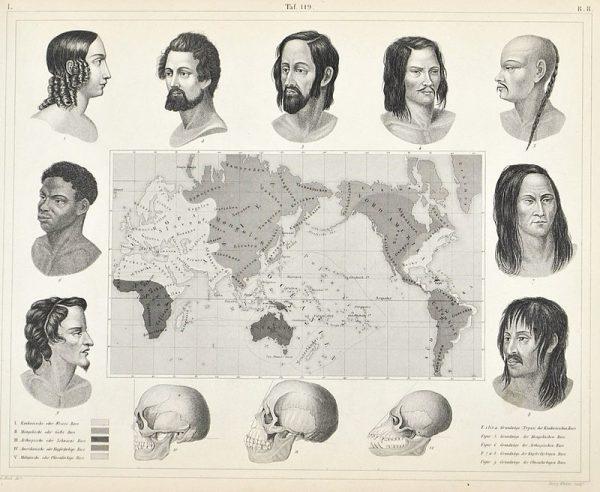 Blumenbach stworzył mapę występowania wyróżnionych przez siebie ras ludzkich.