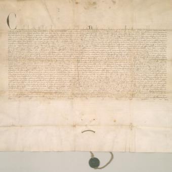 Zarządzana przez Bolesława ziemia dobrzyńska w XIV wieku była kluczowym obszarem rozgrywek z Krzyżakami (na zdj. dokument wystawiony przez papieża Klemensa VI w sprawie zwrotu Polsce ziemi kujawskiej i dobrzyńskiej z 1342 roku).