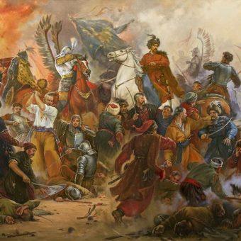 """Na ilustracji fragment obrazu Artura Orlionowa """"Bitwa pod Beresteczkiem""""."""
