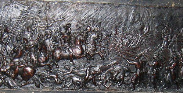Fragment płaskorzeźby z nagrobka serca Jana II Kazimierza w kościele Saint-Germain-des-Prés w Paryżu przedstawiającej bitwę pod Beresteczkiem.
