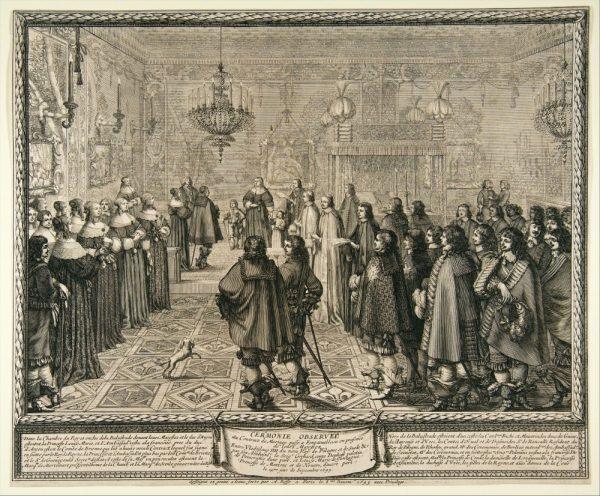 Ceremonia podpisania kontraktu ślubnego Władysława IV i Ludwiki Marii Gonzagi.
