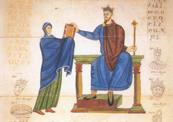 Księżna Matylda wręcza księgę liturgiczną Mieszkowi II.