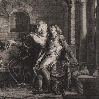 Grzymisława z synem Bolesławem Wstydliwym w więzieniu u Konrada Mazowieckiego, drzeworyt Józefa Holewińskiego wg rysunku Jana Matejki.