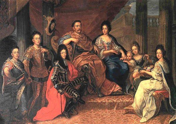 Jan III Sobieski z rodziną.