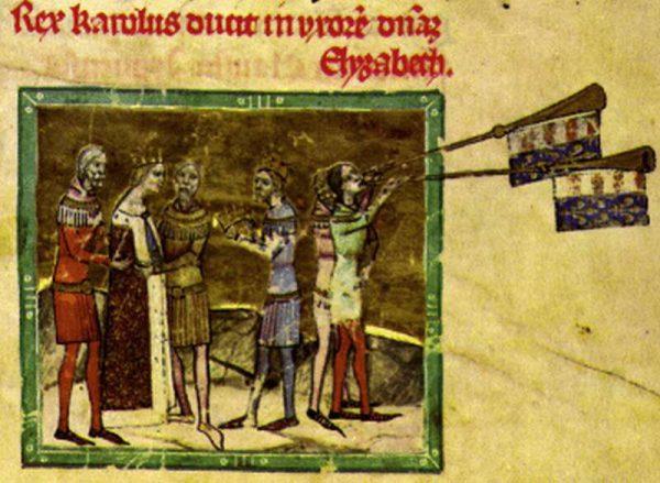 Ślub Elżbiety z Karolem Robertem (miniatura z Kroniki Ilustrowanej).