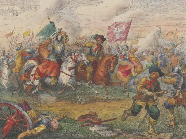 Pojedyncze salwy z broni palnej miały nikłą skuteczność. Na ilustracji bitwa pod Kircholmem według Henryka Pillatiego.