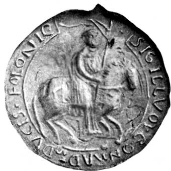 Racibor sprzymierzył się przeciwko bratu Świętopełkowi z Konradem I mazowieckim (na zdj. pieczęć konna Konrada z ok. 1218 roku).