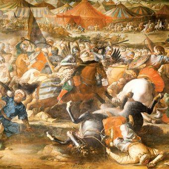"""Husarski arsenał był bardzo bogaty. Na ilustracji fragment obrazu Marcina Altomonte """"Bitwa pod Wiedniem""""."""