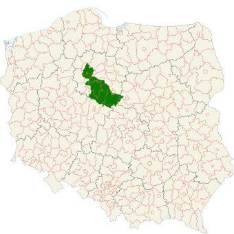 Na zielono zaznaczono Kujawy, ziemie, którymi prawdopodobnie władał Mieszko (fot. domena publiczna)