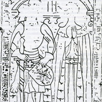 Wizerunek Racibora i jego żony na płycie nagrobnej.