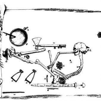 Rysunek jamy grobowej wykonany przez Haralda Olssona, który po raz pierwszy ukazał się w 1943 roku.