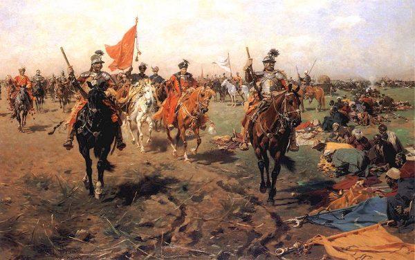 """Bitwa pod Beresteczkiem zakończyła się wielkim polskim zwycięstwem, jednak zostało ono zmarnowane. Na ilustracji obraz Józefa Brandta """"Składanie sztandarów""""."""