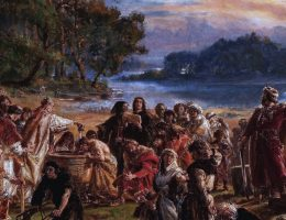 Zaprowadzenie chrześcijaństwa R.P. 965, obraz Jana Matejki z cyklu Dzieje cywilizacji w Polsce (fot. domena publiczna)
