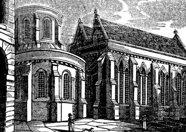 Świątynia wzniesiona przez templariuszy przy Fleet Street na XIX-wiecznym rysunku.