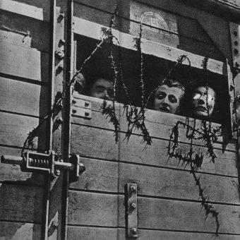 Żydzi w wagonie towarowym w drodze do obozu zagłady (fot. domena publiczna)